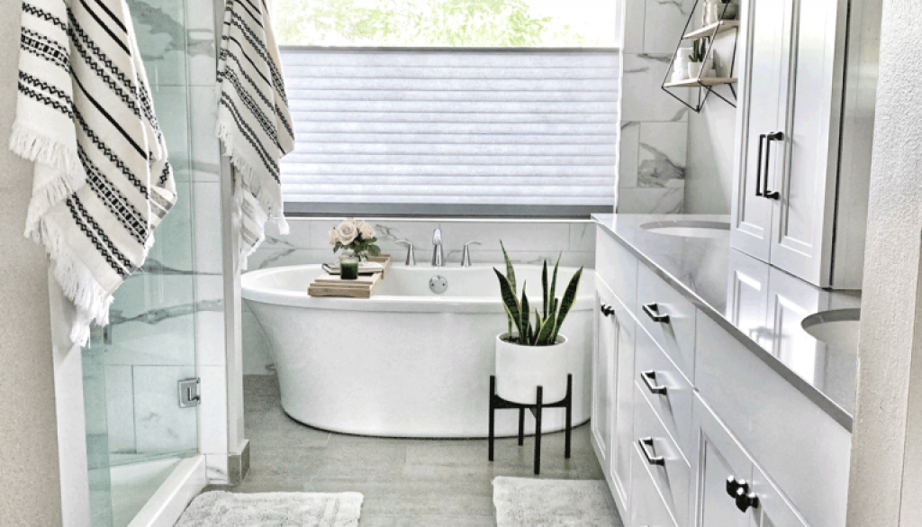 master bathroom with motorized top down bottom up shades