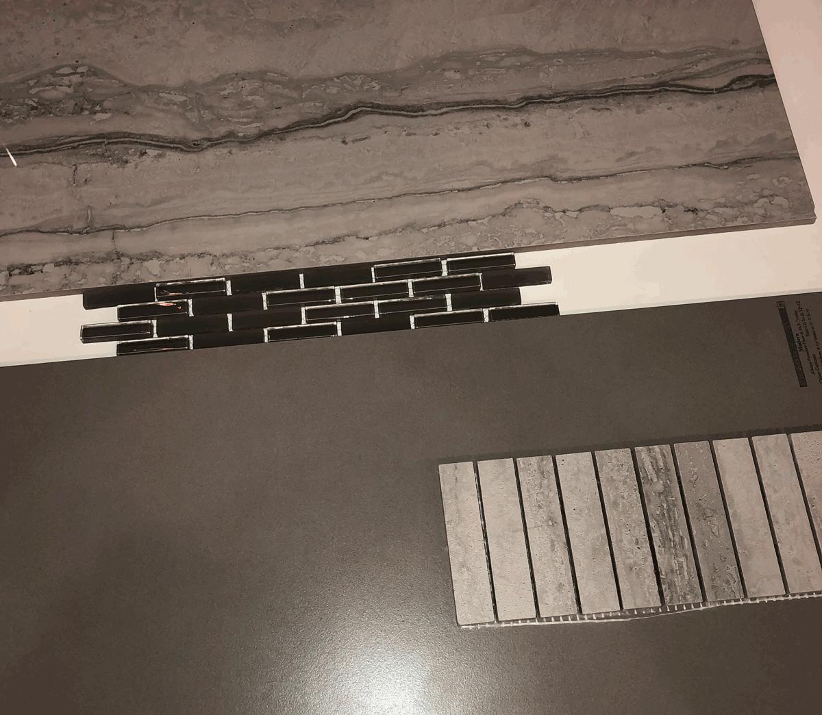 tile samples for master bathroom renovation