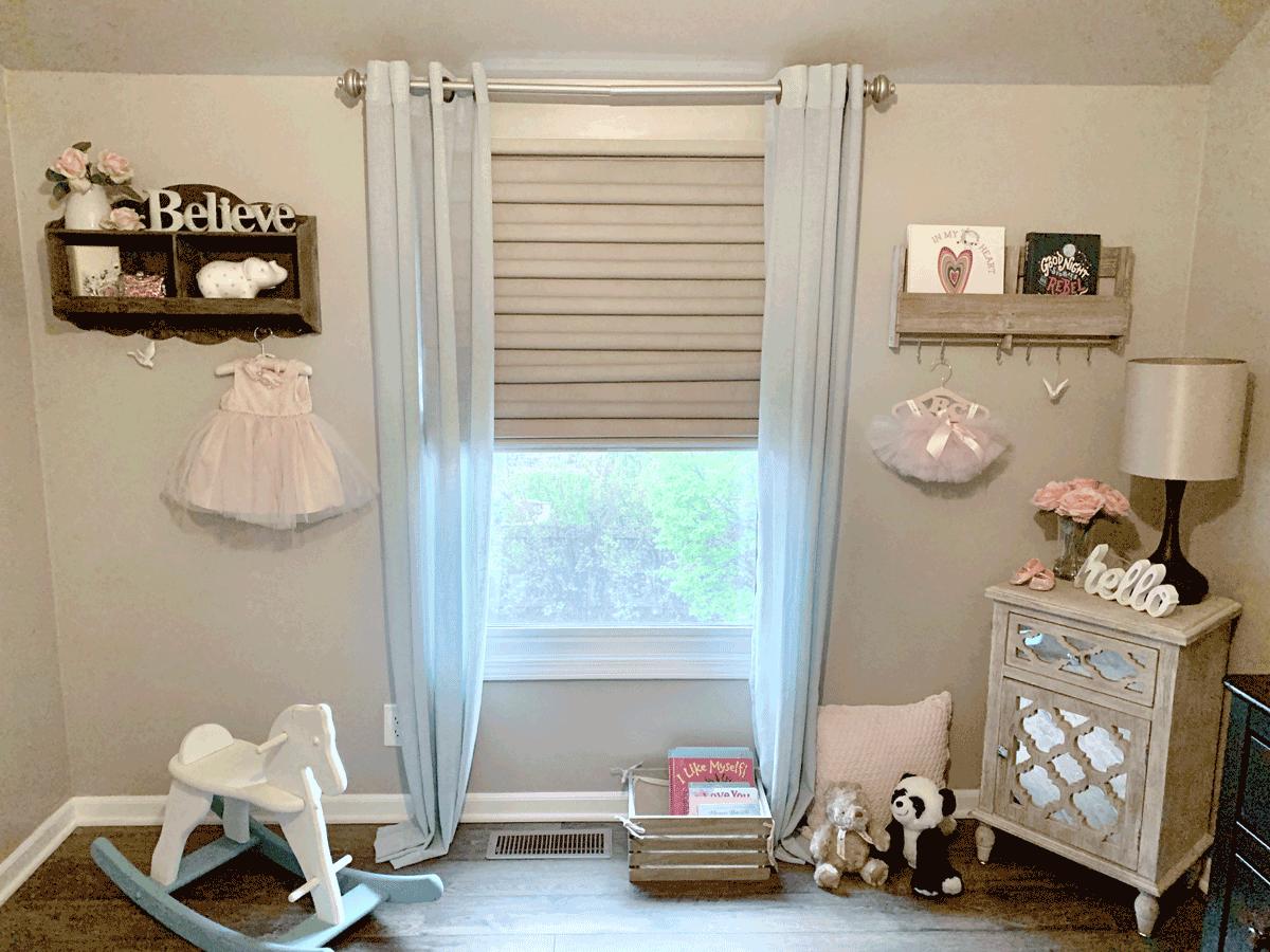 cordless child safe shades with aqua curtains