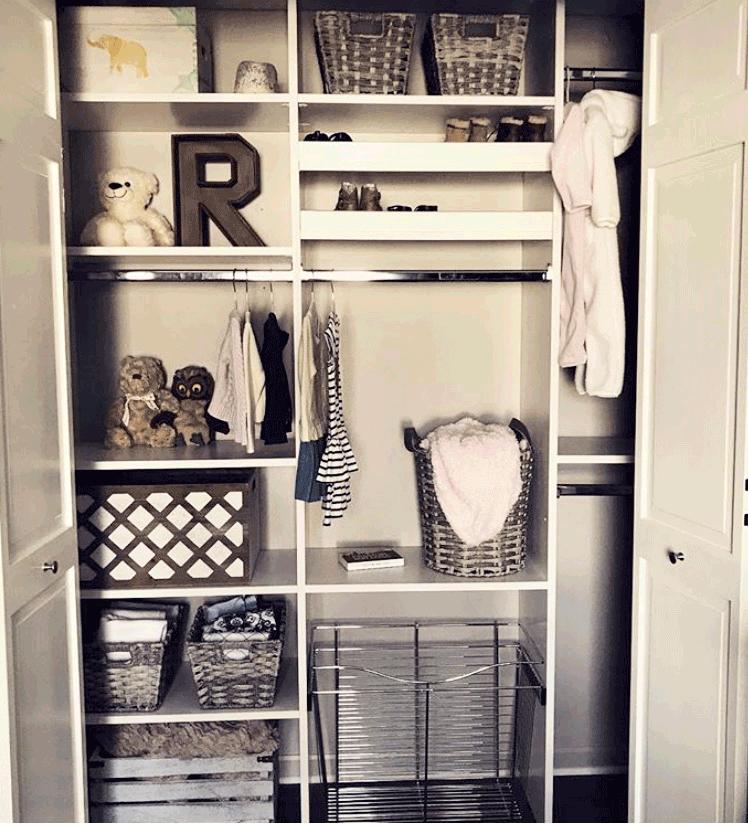 custom closet in baby nursery organized bins and baskets
