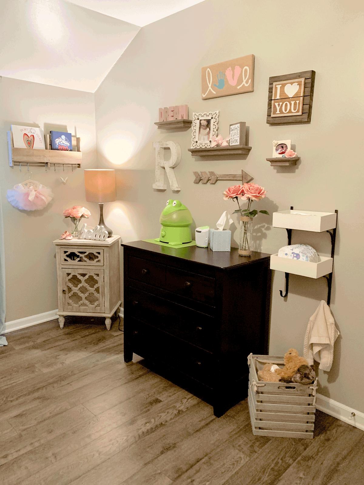 organization of a baby girls nursery