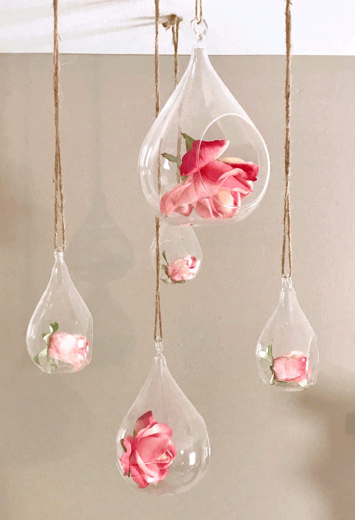 hanging teardrop glass with roses for nursery mobile