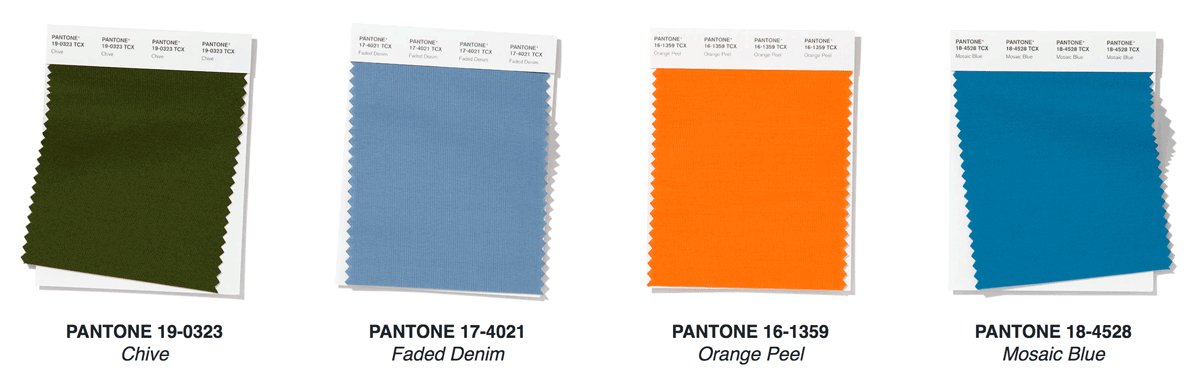 color of the year blues green orange pantone palette