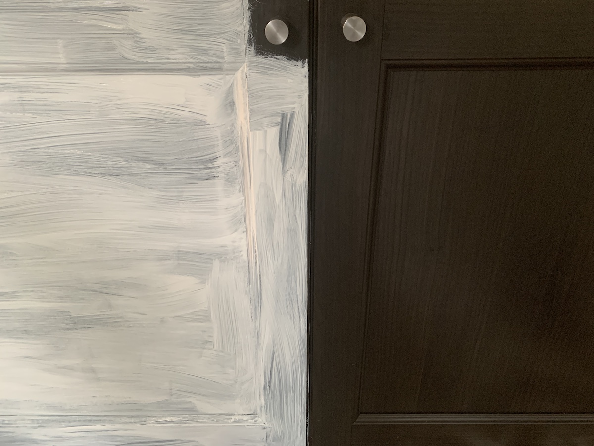 changing hardware for ikea chalk painted cabinet
