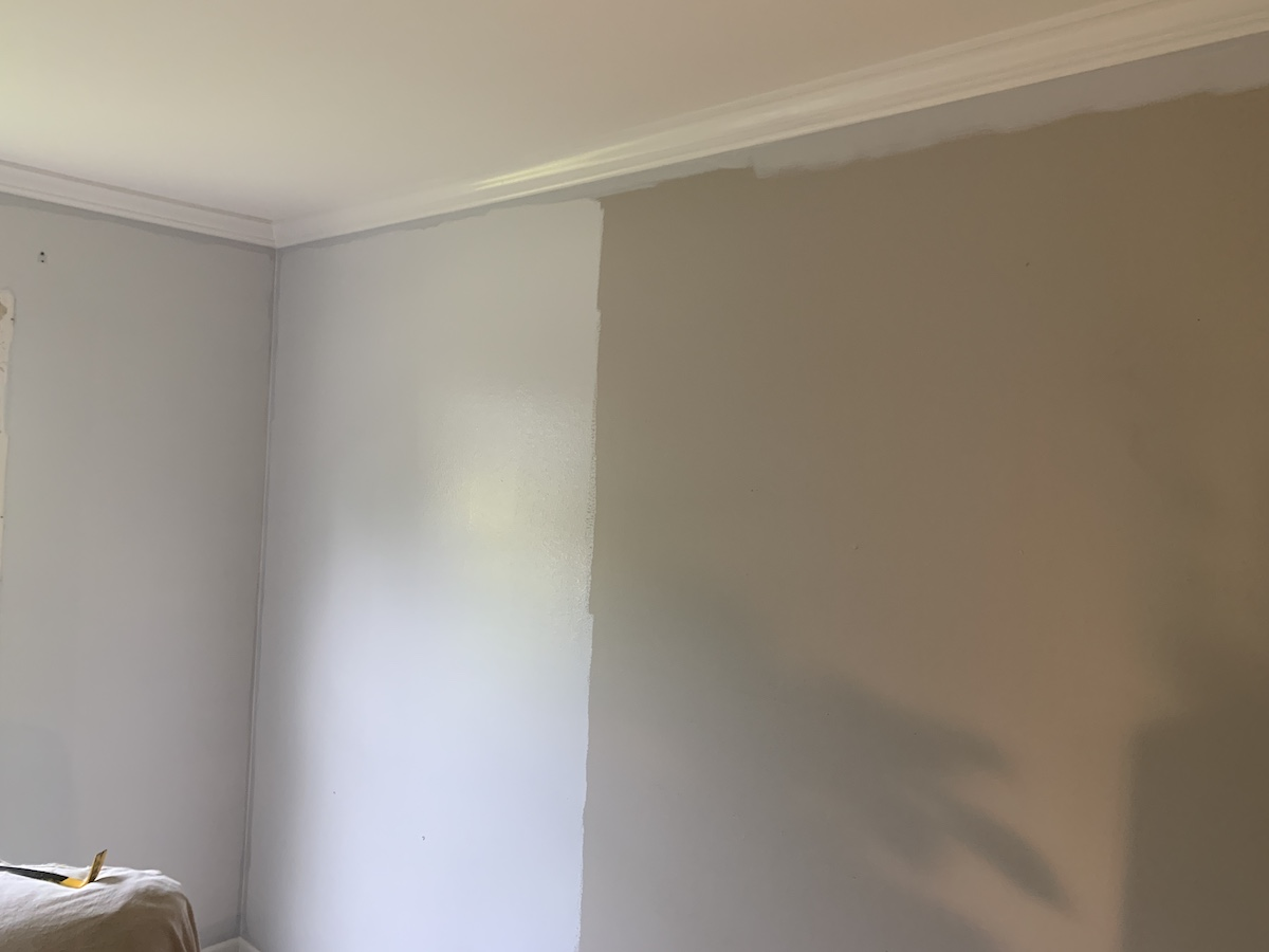 painting gray over greige walls