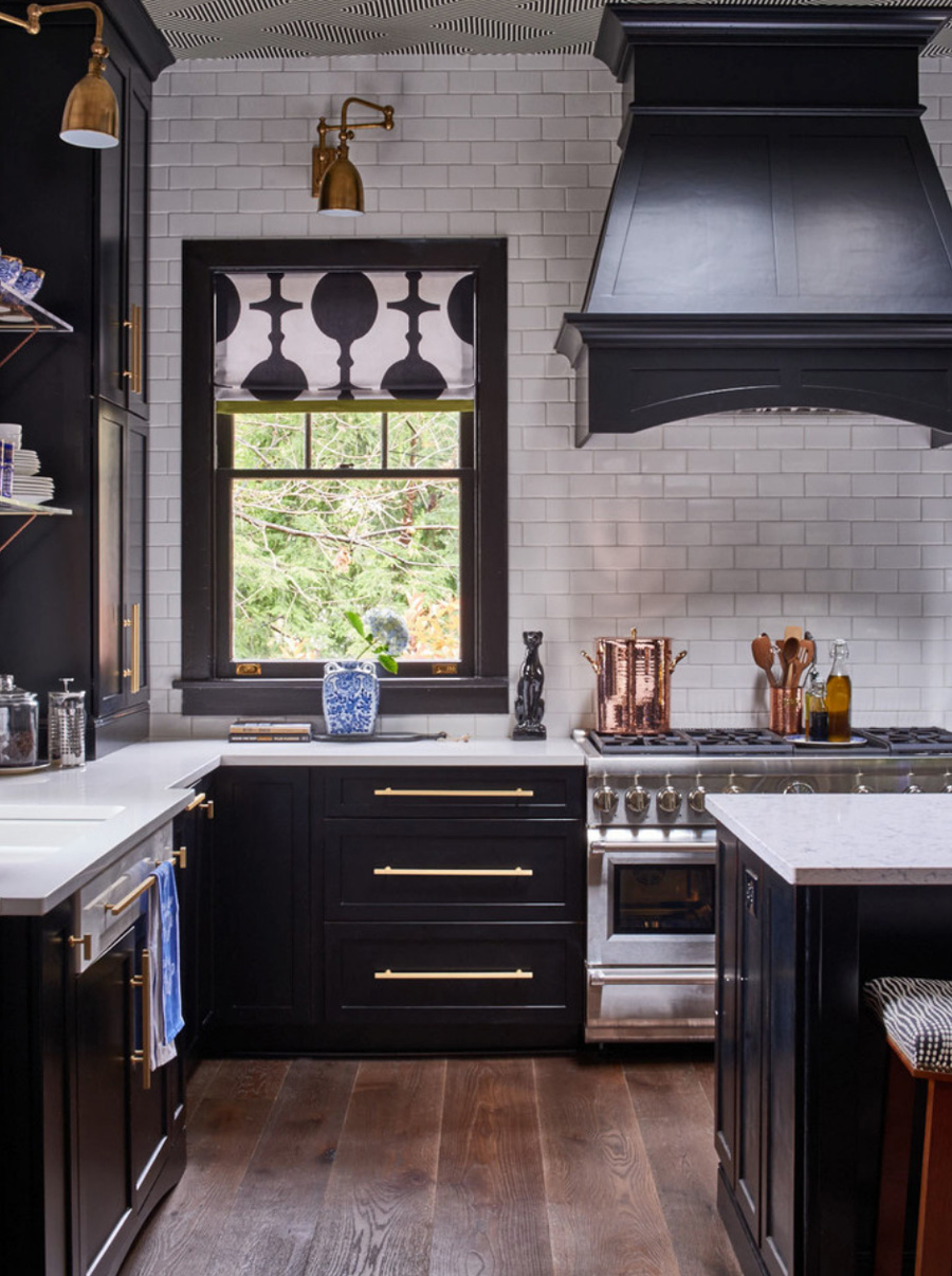black and white kitchen subway tile wall