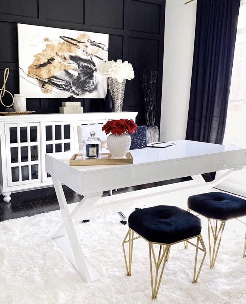 gold accents in black and white home office