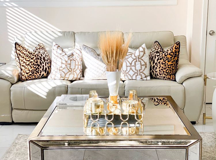 decorating with gold living room pillows and coffee table design