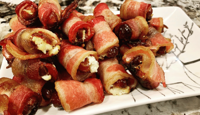 finished platter of bacon wrapped dates