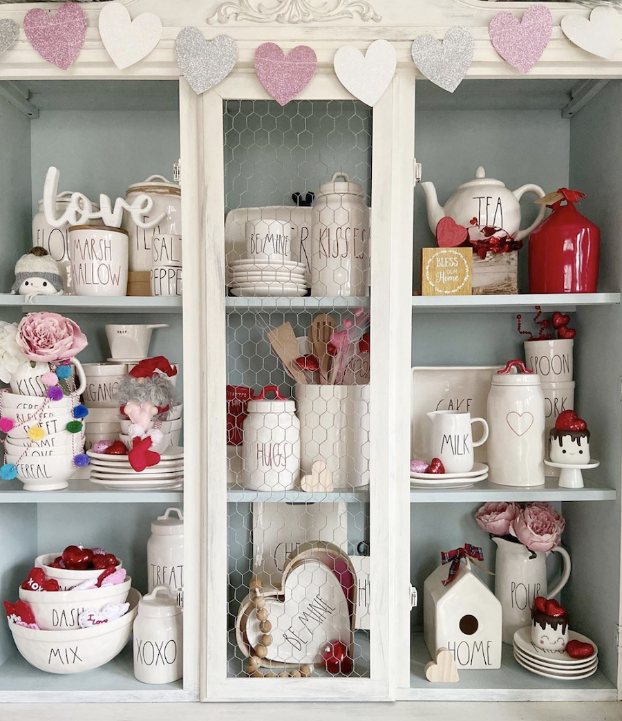 rae dunn collection coffee cabinet for valentines day