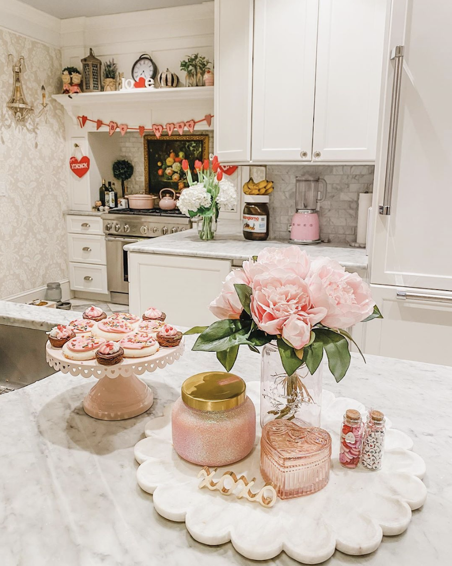 kitchen decorated for valentines day