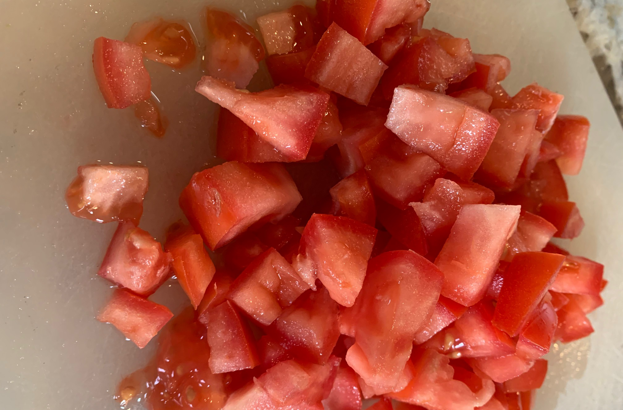chopped tomatoes for recipe