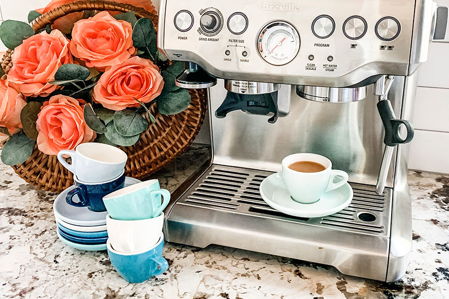 coffee station with sweese blue espresso cups