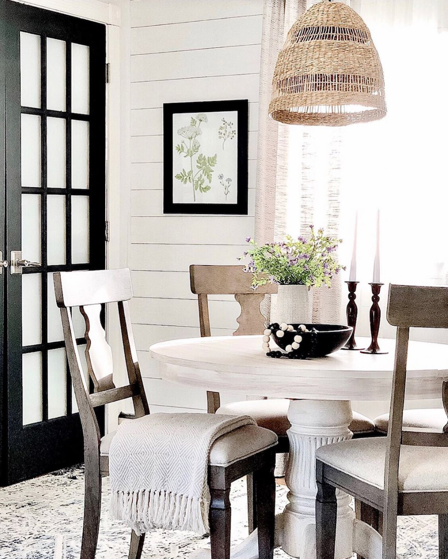 black french doors in neutral home