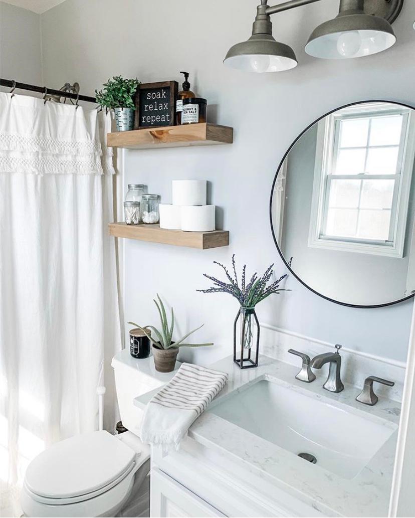 modern farmhouse bathroom with black outlines elements