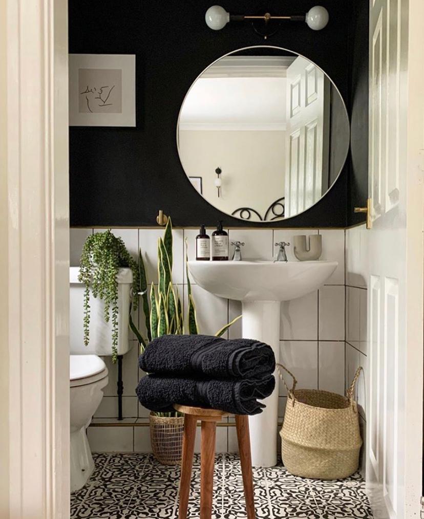 black accent walls in bathroom