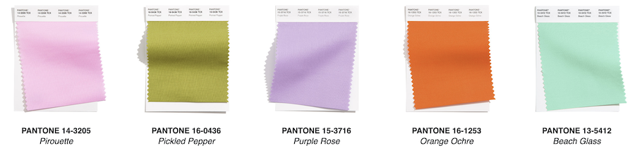 swatches for pantone palette 2021 london
