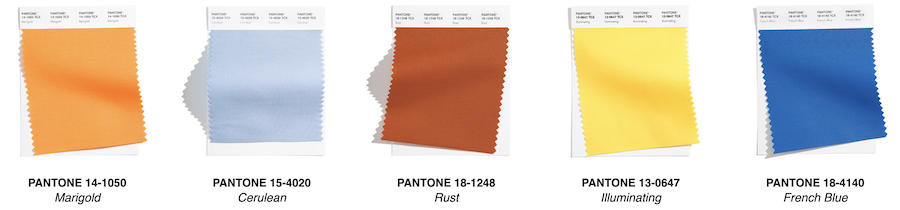 swatches of pantone colors for 2021 New York Fashion Week