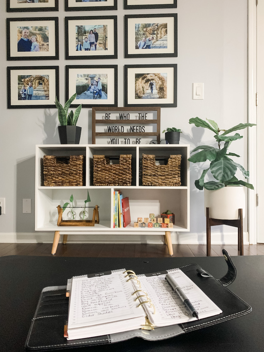 home office playroom with desk for organization