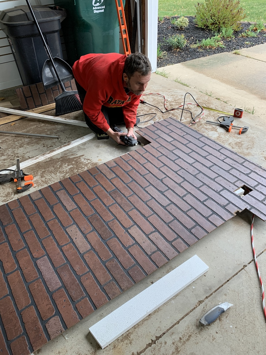cutting faux brick wall panels to fit wall