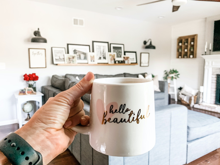 coffee cup with hello beautiful in cursive