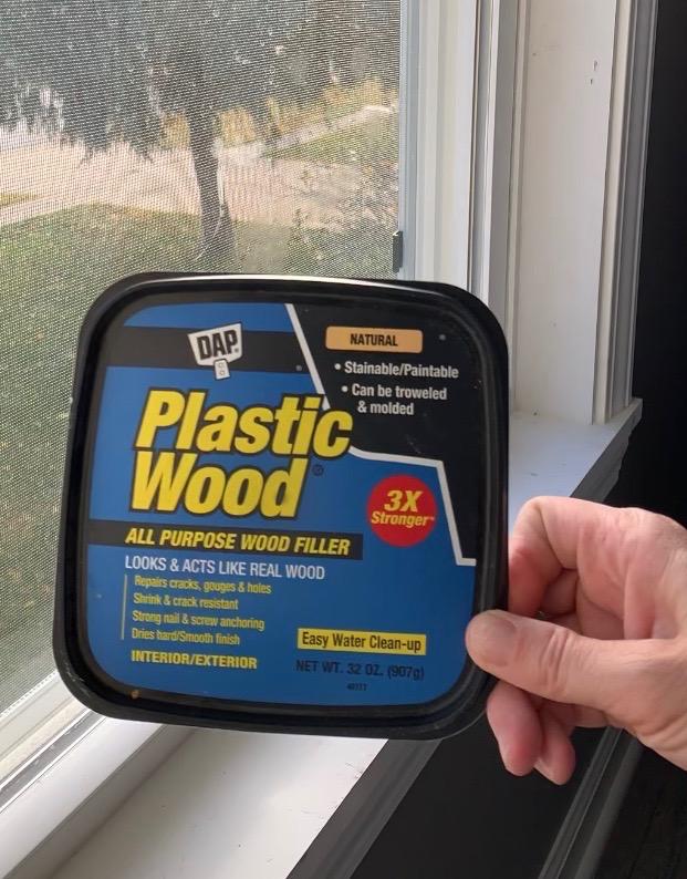 DAP plastic wood to fill nail holes