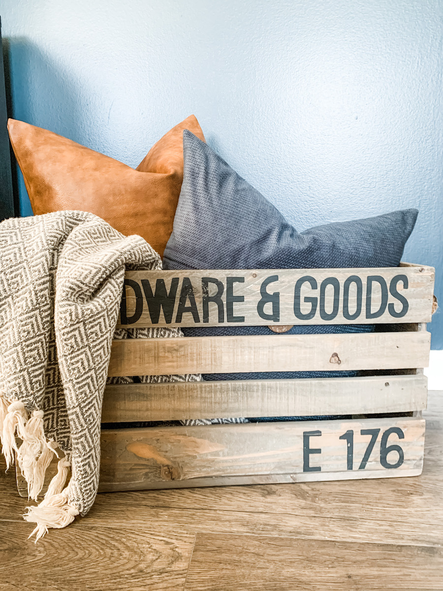 wooden crate for holding pillows