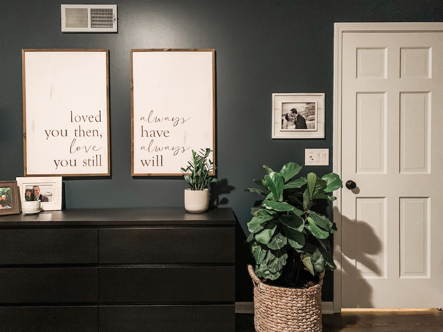 bedroom wall art loved you then love you still always have always will