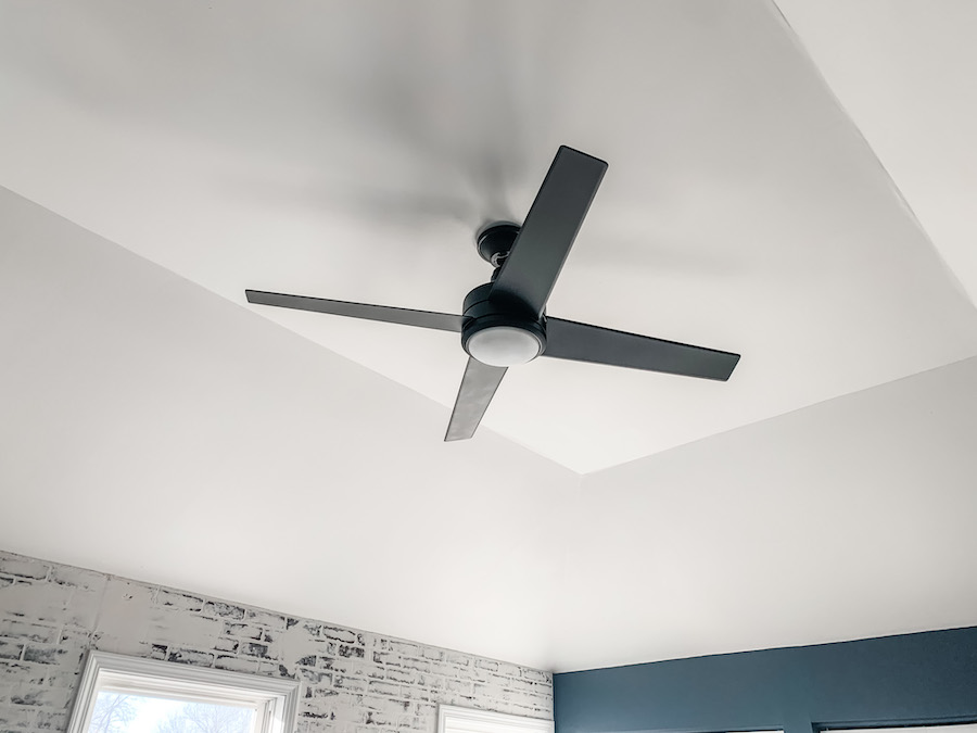 black spray paint made over fan
