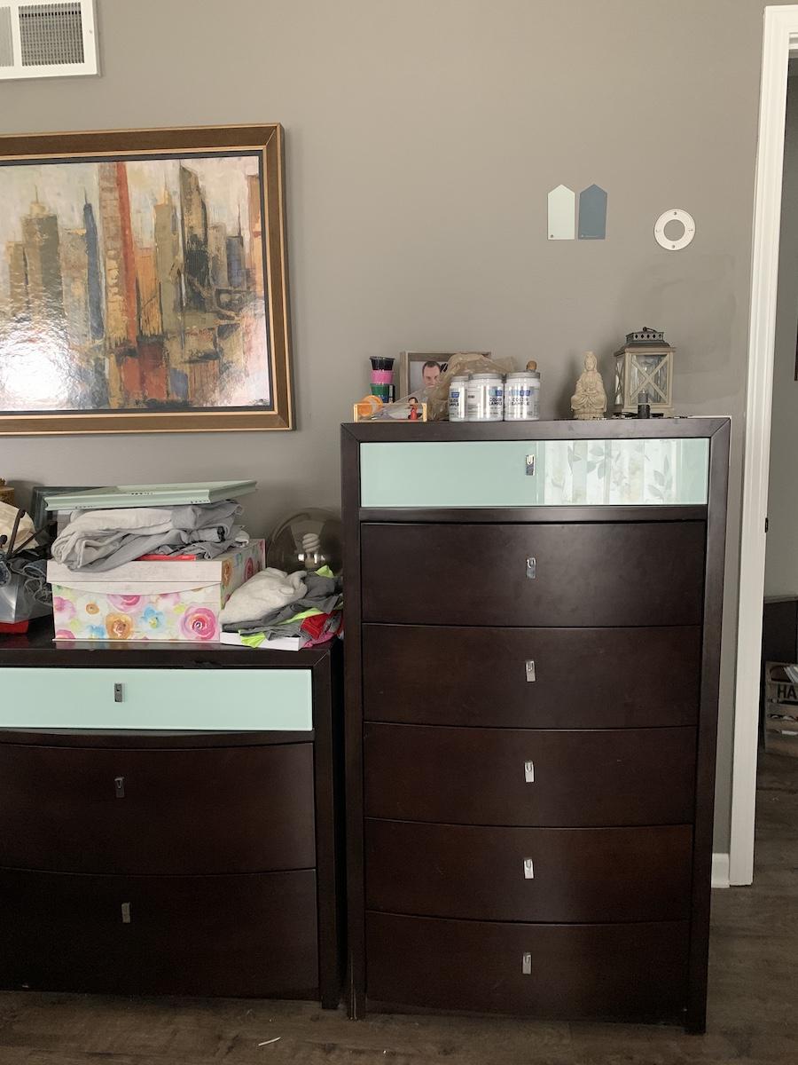 bedroom clutter before makeover