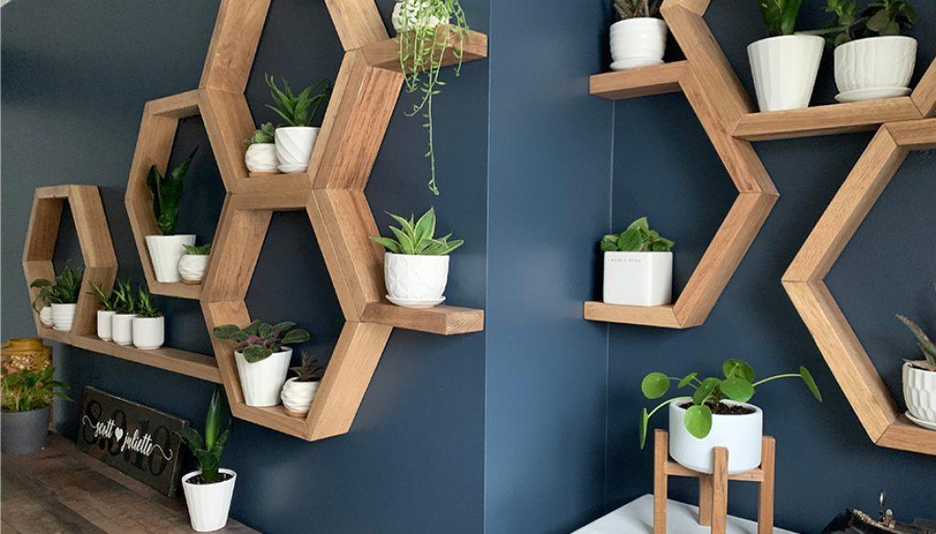 wall of honeycomb shelves