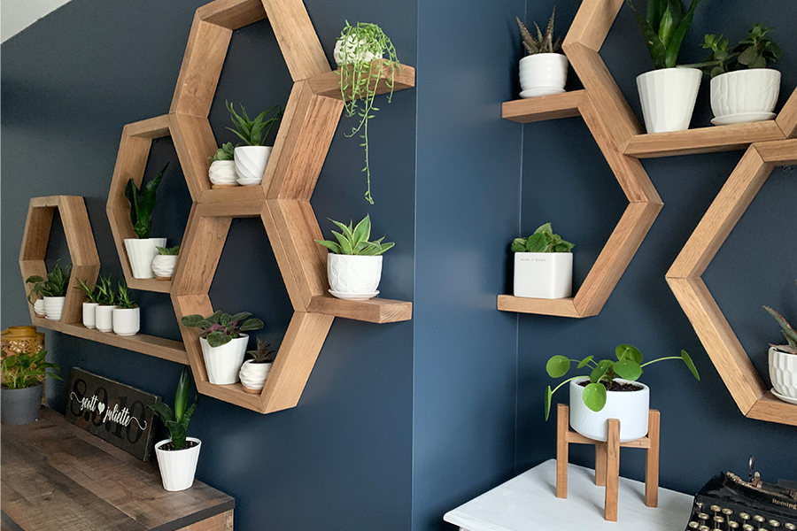 wall of honeycomb shelves