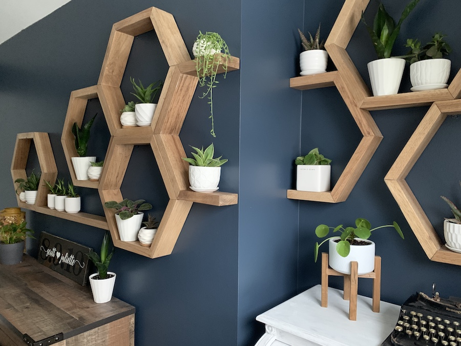 the finished honeycomb shelf feature wall