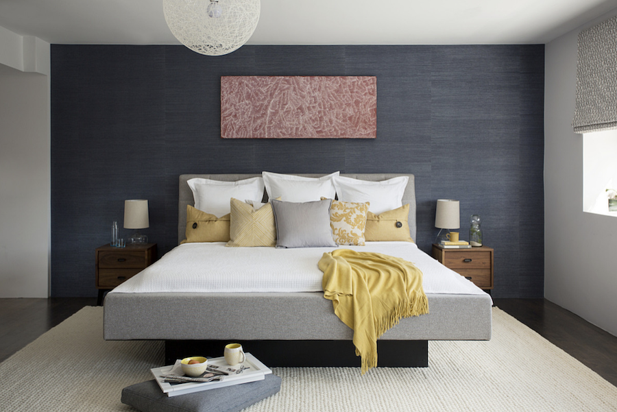 yellow accents in contemporary loft bedroom