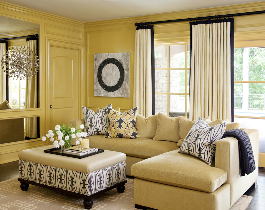all yellow traditional living room