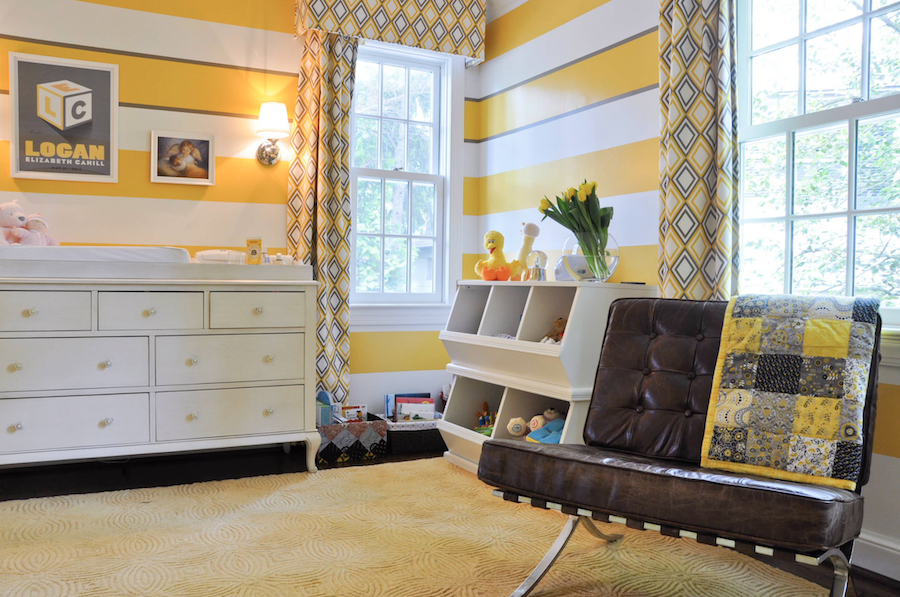 yellow and gray striped nursery for modern design