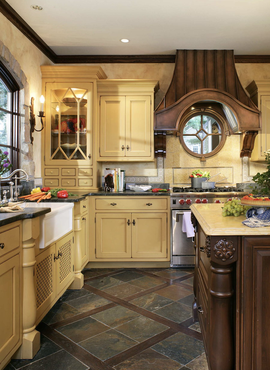 soft yellow painted kitchen cabinets