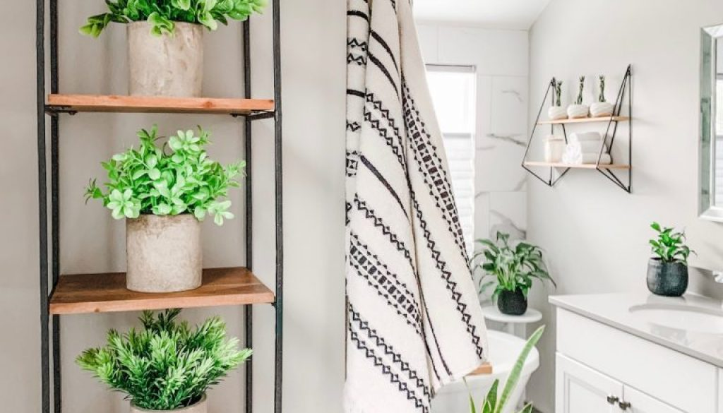 faux plants in contemporary gray and white bathroom