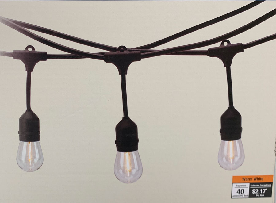 string lights for backyard makeover