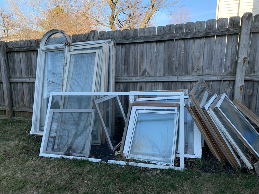 old windows in backyard