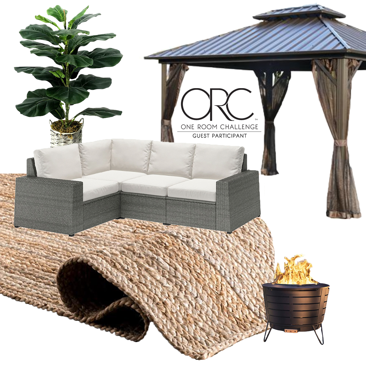 mood board for the one room challenge backyard makeover