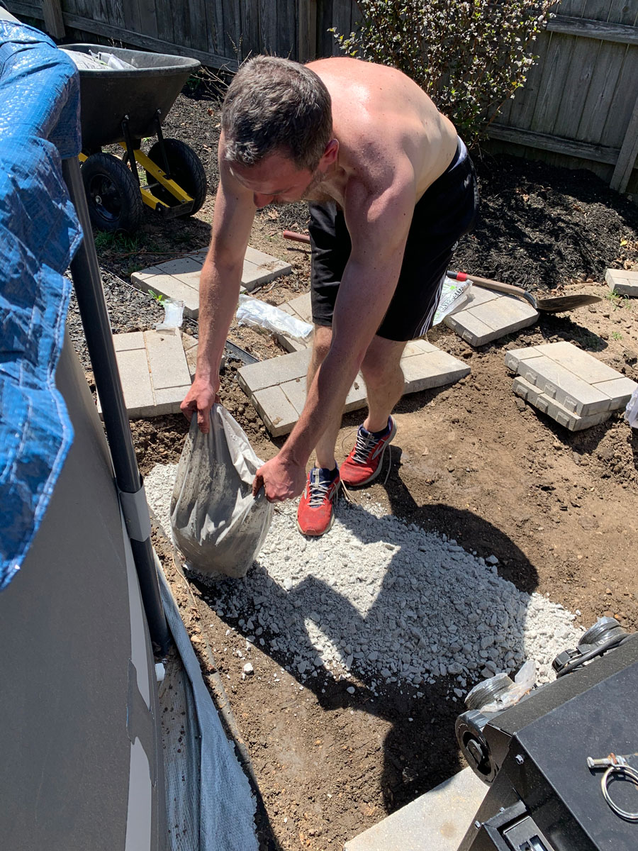 pouring paver base for landing