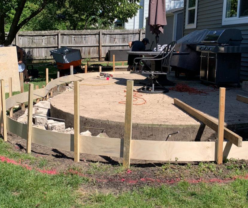 border for concrete patio extension