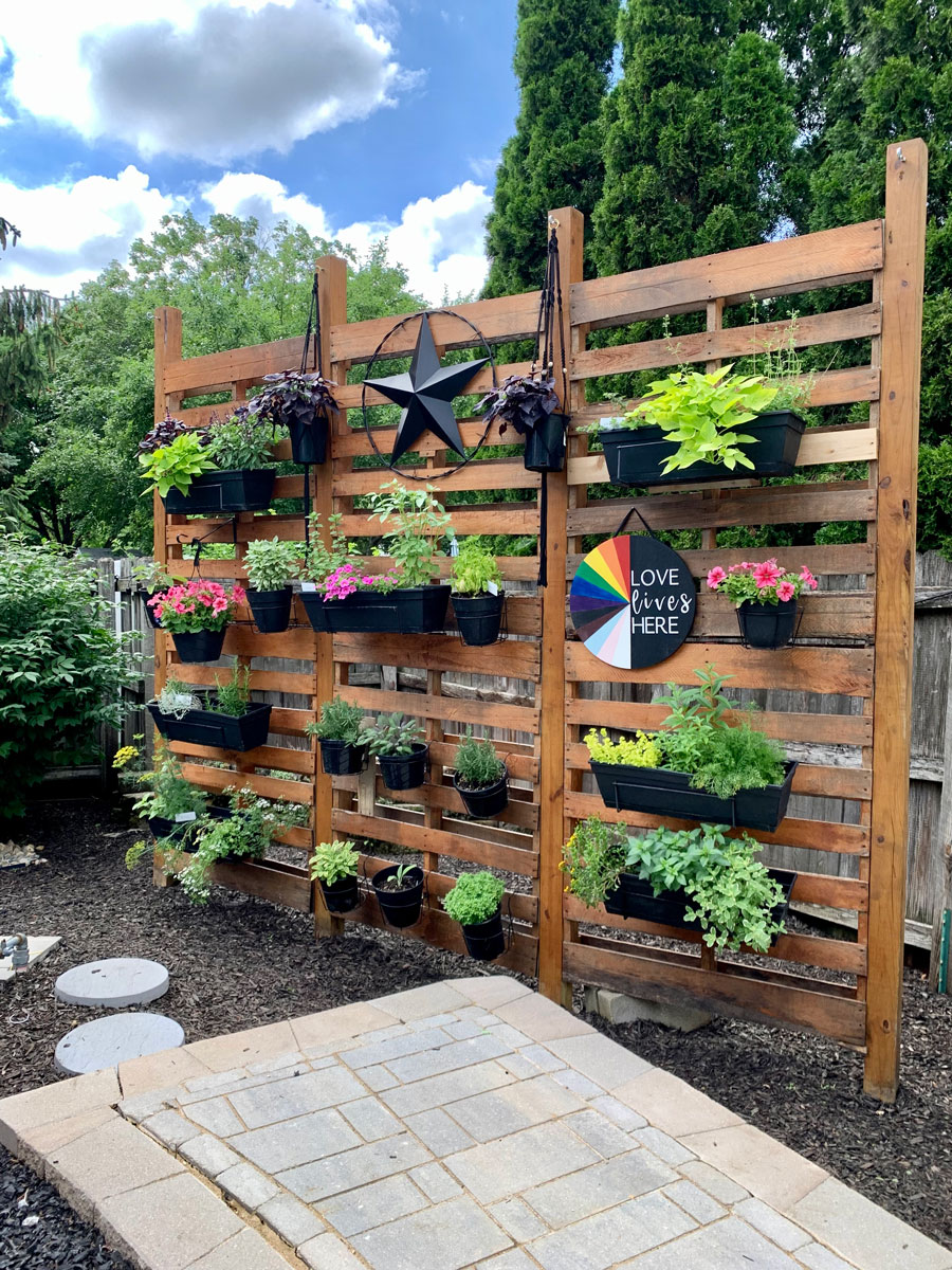 pallet wall with herbs