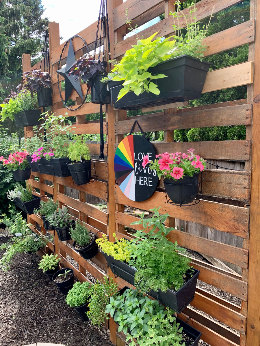 side view of pallet wall for herbs
