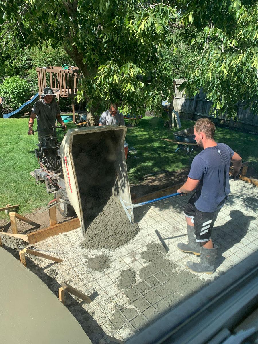 pouring the concrete pad
