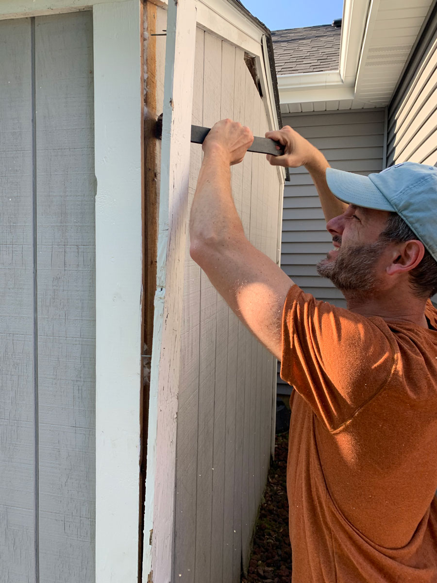 removing the trim on backyard shed