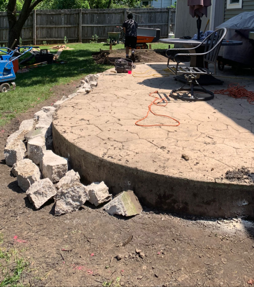 rock filler for patio extension project