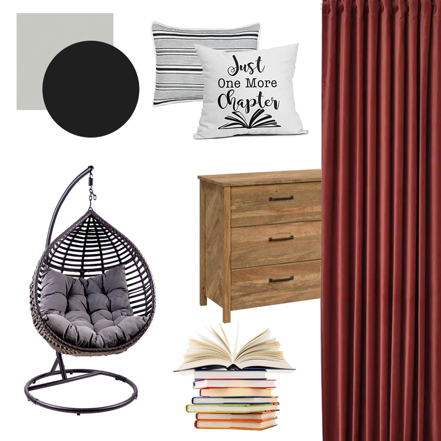 mood board for book lovers bedroom one room challenge fall 2021