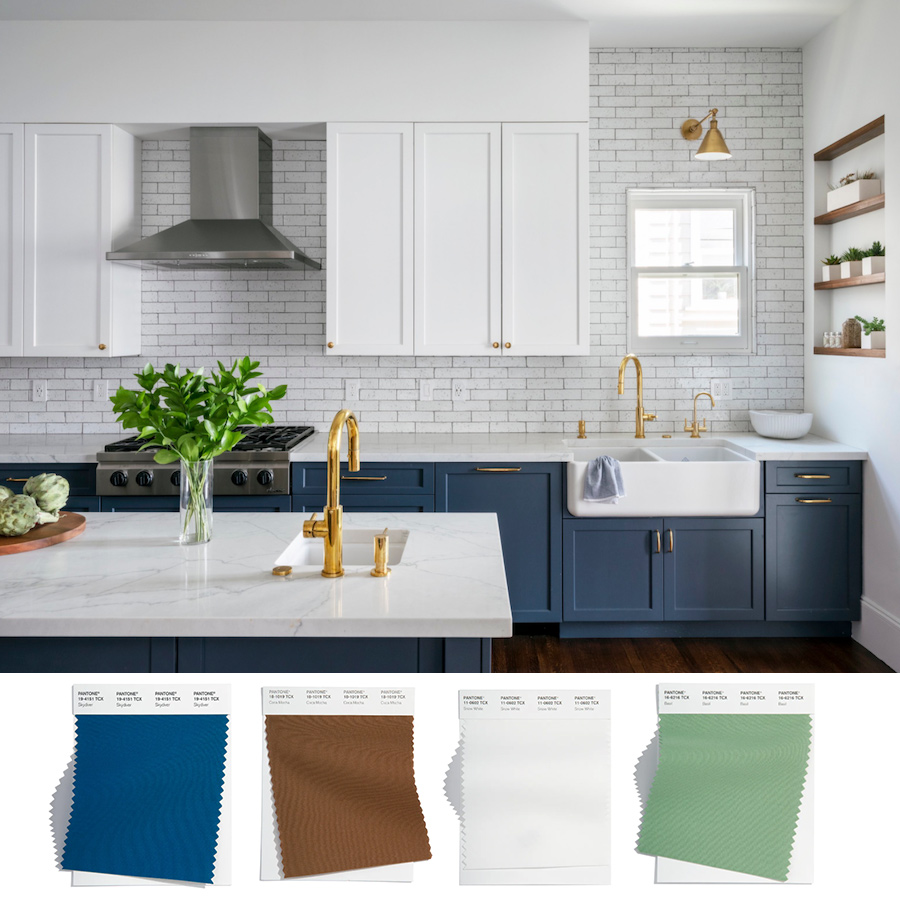 blue brown white kitchen with subway tile